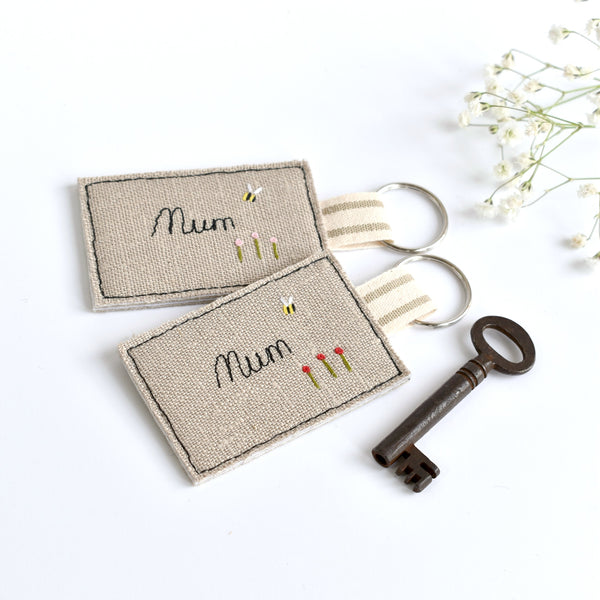Embroidered personalised Mum keyring, name keychain handmade by Stitch Galore