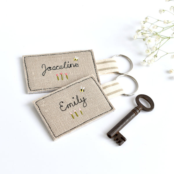 Embroidered personalised keyring, name keychain handmade by Stitch Galore
