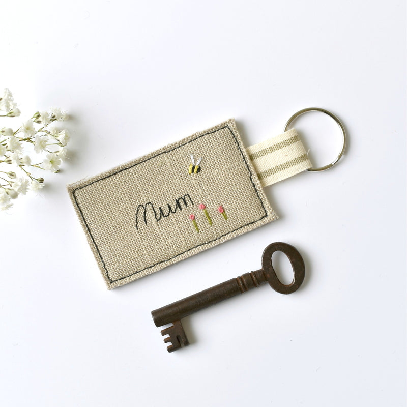 Personalised Mum keyring, embroidered name key ring handmade by Stitch Galore
