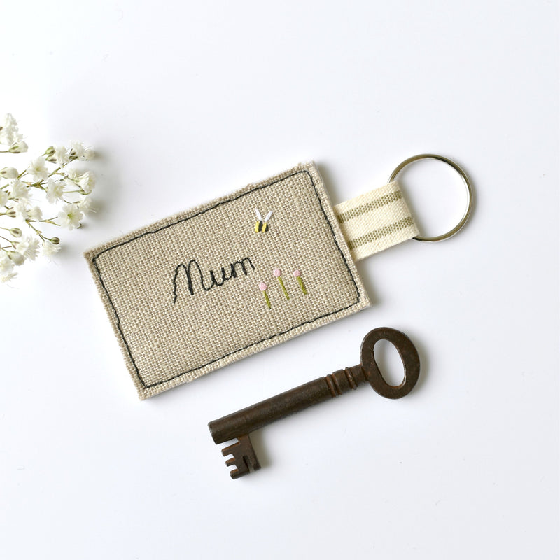 Personalised Mum key ring, personalised new home keyring by Stitch Galore