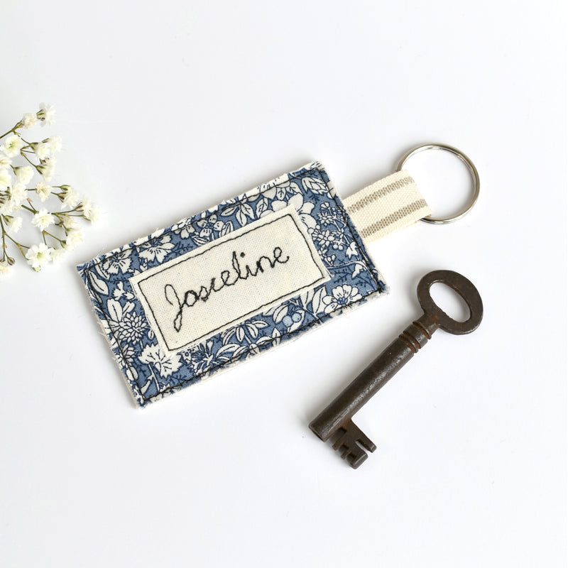Personalised key ring, personalised new home keyring by Stitch Galore