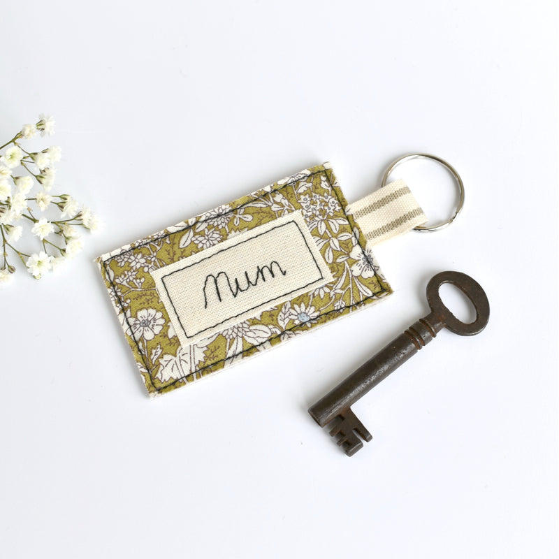 Mum keyring, personalised fabric  keyring handmade by Stitch Galore