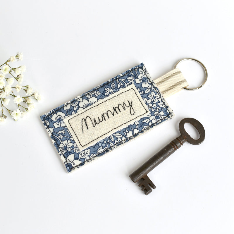 Personalised Mummy keyring, embroidered name key ring handmade by Stitch Galore