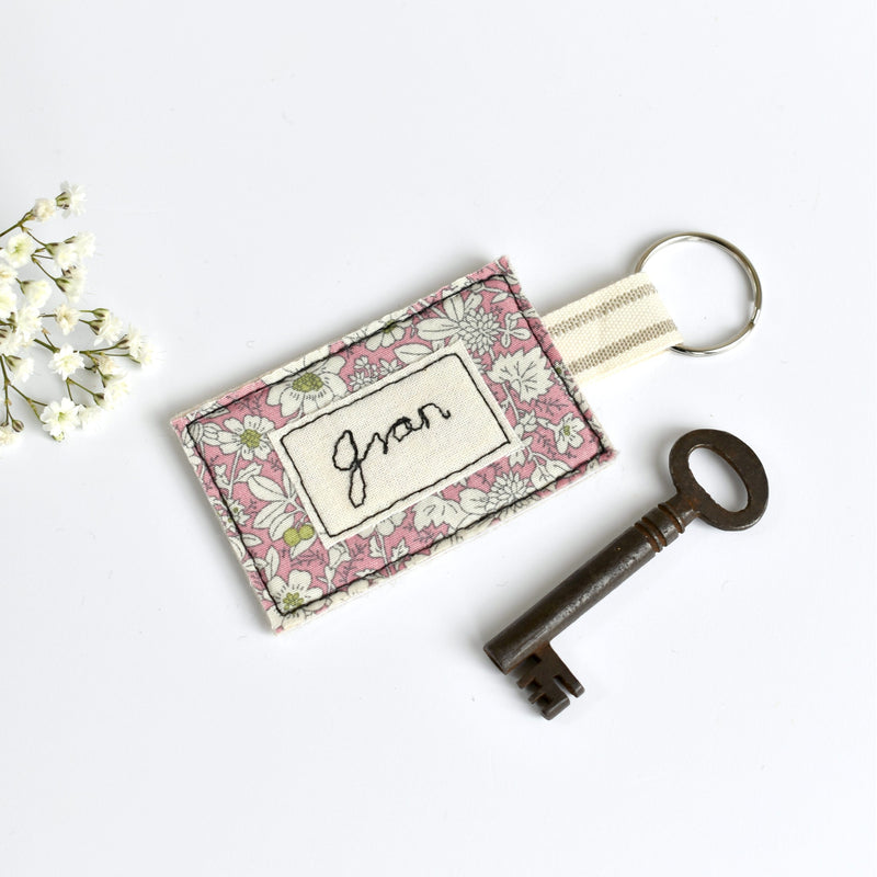 Personalised keyring, embroidered name key ring handmade by Stitch Galore