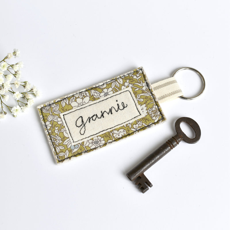 Name keyring, personalised fabric  keyring handmade by Stitch Galore