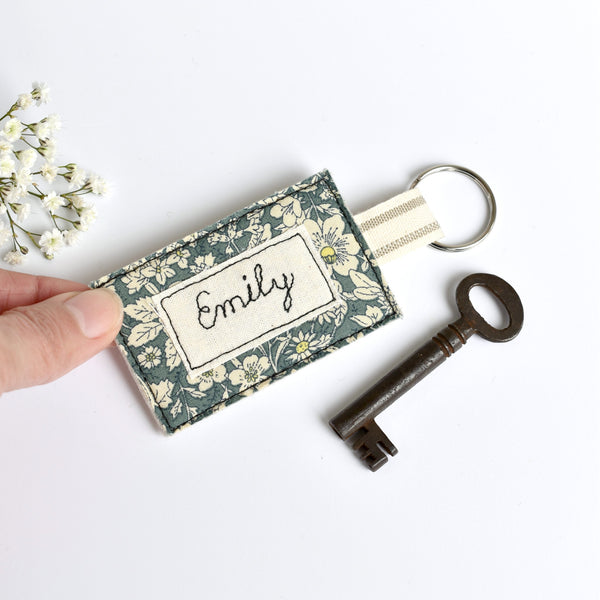 Embroidered personalised keychain, name keyring handmade by Stitch Galore