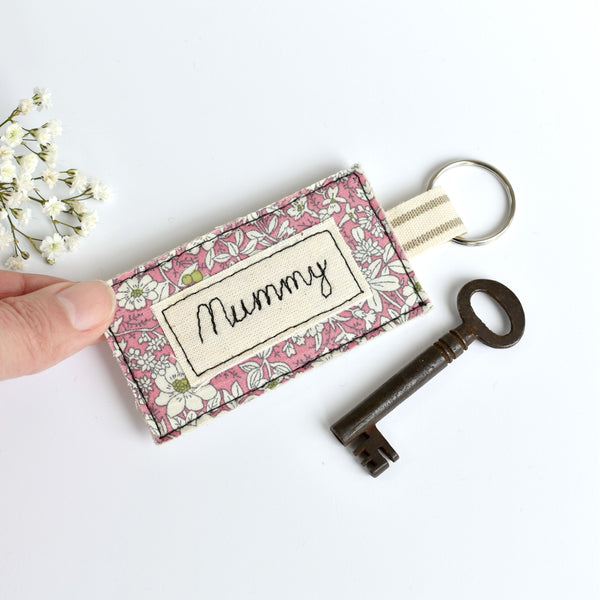 Embroidered personalised Mummy keychain, name keyring handmade by Stitch Galore