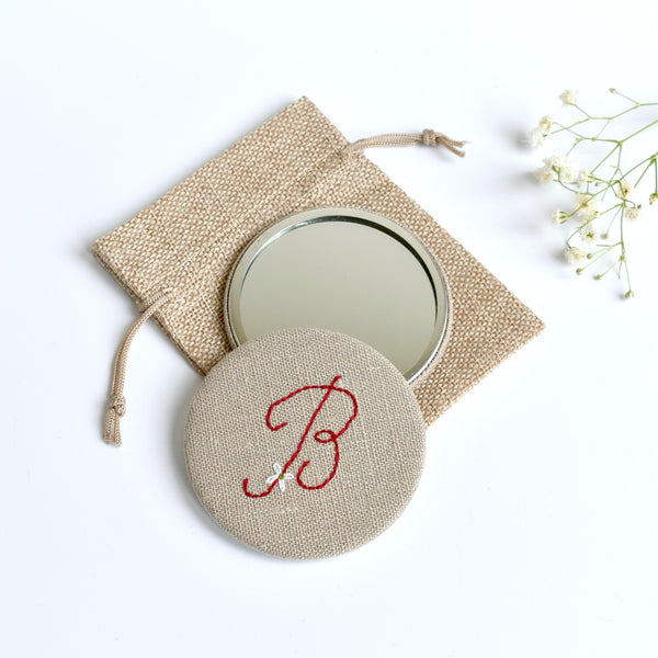 Initial B embroidered monogram mirror handmade by Stitch Galore