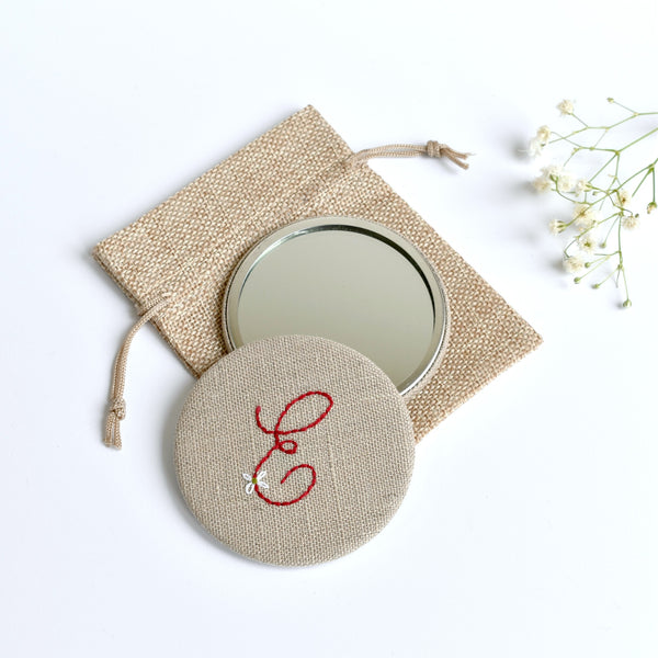 Initial E embroidered monogram mirror handmade by Stitch Galore