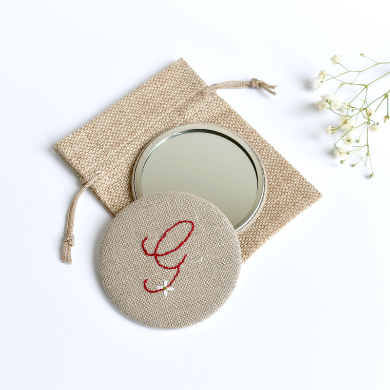 Initial G embroidered monogram mirror handmade by Stitch Galore