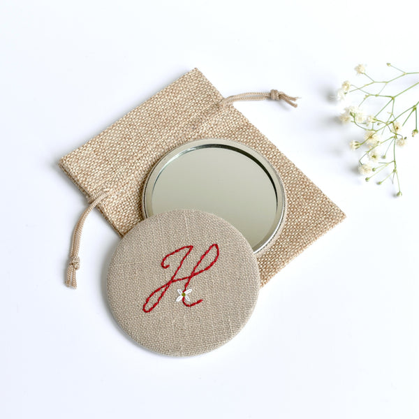 Initial H embroidered monogram mirror handmade by Stitch Galore