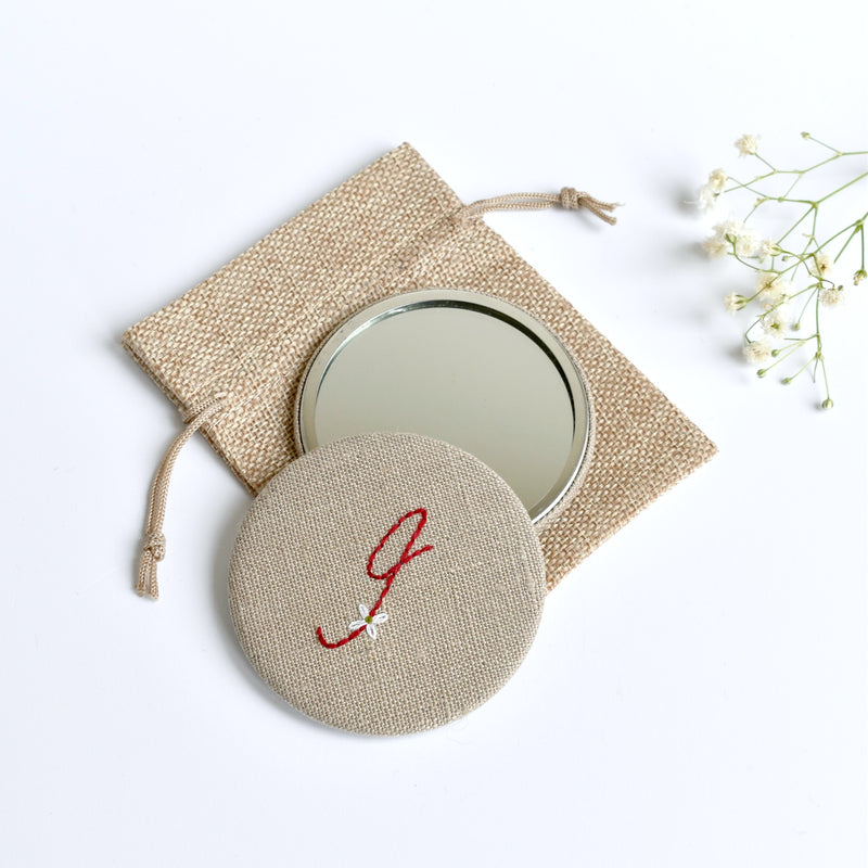 Initial I embroidered monogram mirror handmade by Stitch Galore