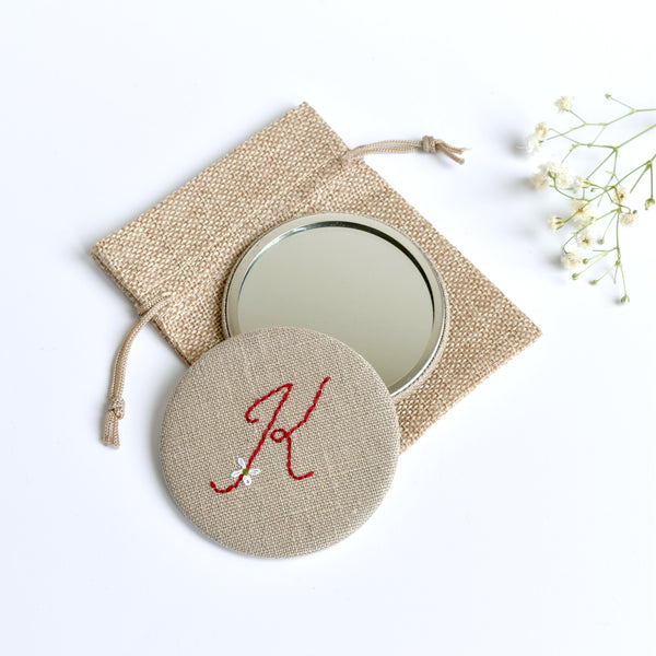 Initial K embroidered monogram mirror handmade by Stitch Galore