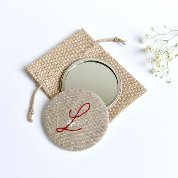 Initial L embroidered monogram mirror handmade by Stitch Galore