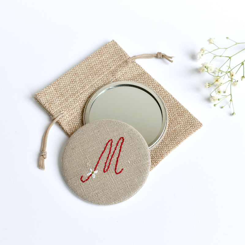Initial M embroidered monogram mirror handmade by Stitch Galore