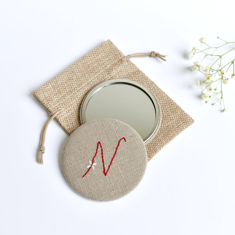Initial N embroidered monogram mirror handmade by Stitch Galore