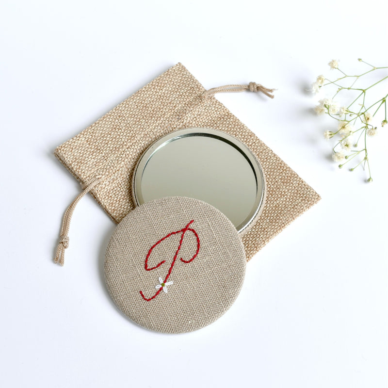Initial P embroidered monogram mirror handmade by Stitch Galore