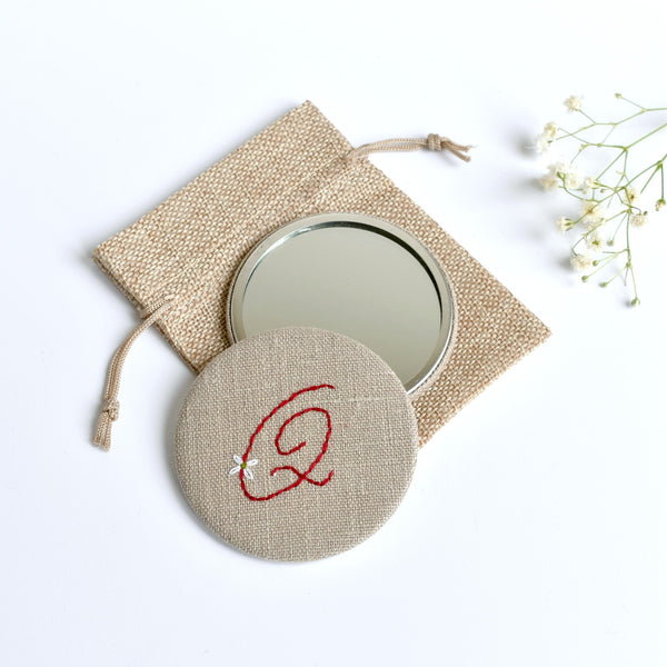 Initial Q embroidered monogram mirror handmade by Stitch Galore