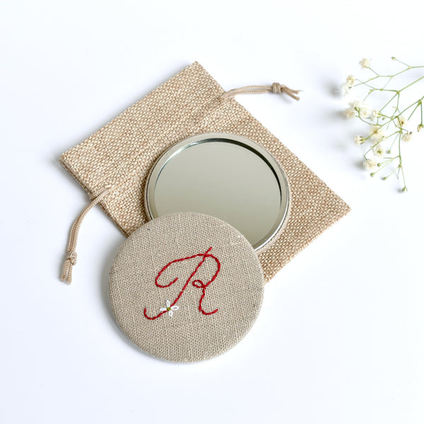 Initial R embroidered monogram mirror handmade by Stitch Galore