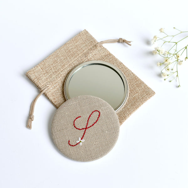 Initial S embroidered monogram mirror handmade by Stitch Galore