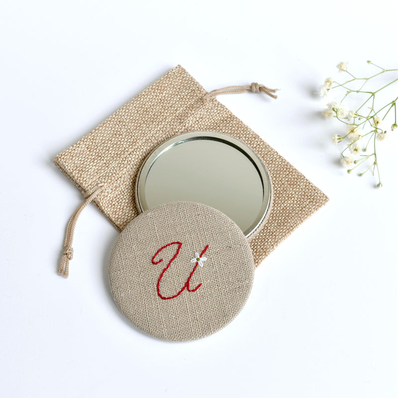 Initial U embroidered monogram mirror handmade by Stitch Galore