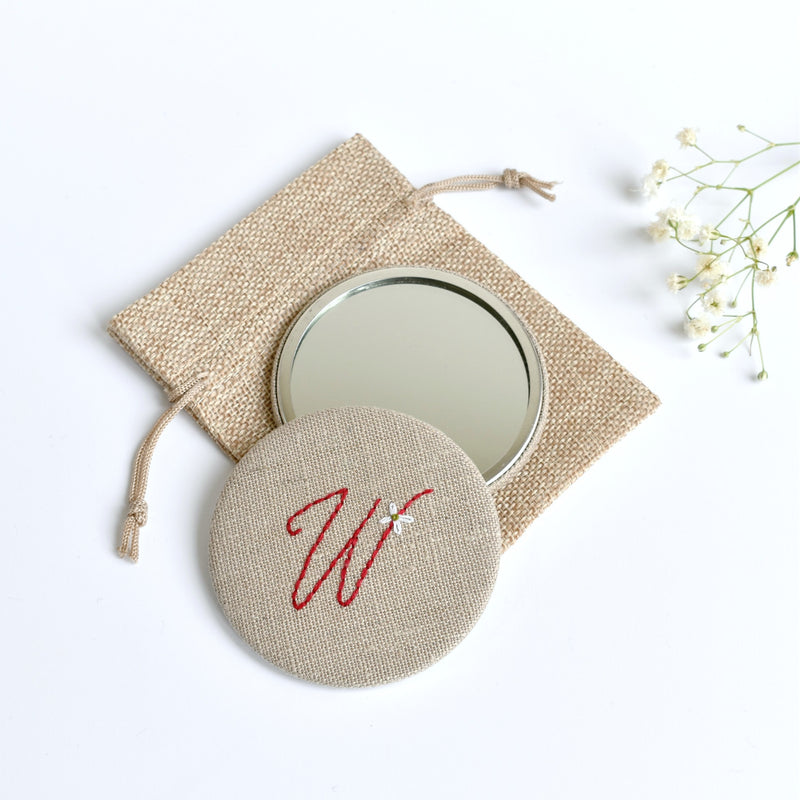 Initial W embroidered monogram mirror handmade by Stitch Galore