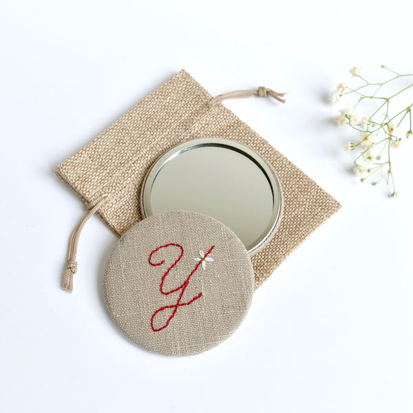 Initial Y embroidered monogram mirror handmade by Stitch Galore