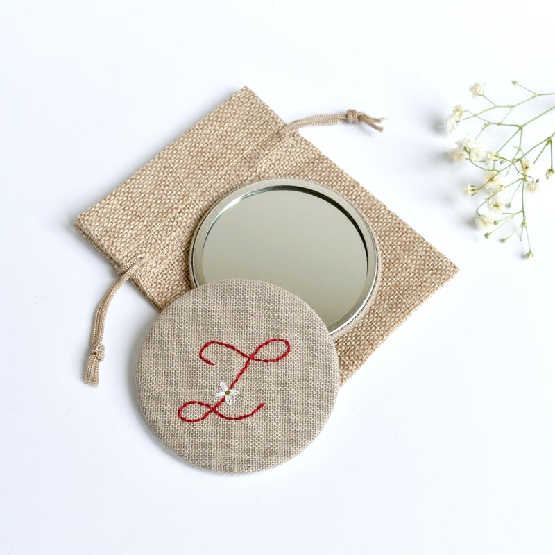 Initial Z embroidered monogram mirror handmade by Stitch Galore
