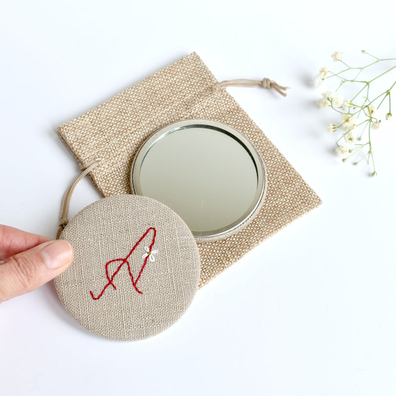 Initial A embroidered monogram mirror handmade by Stitch Galore