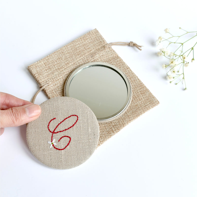 Initial C embroidered monogram mirror handmade by Stitch Galore