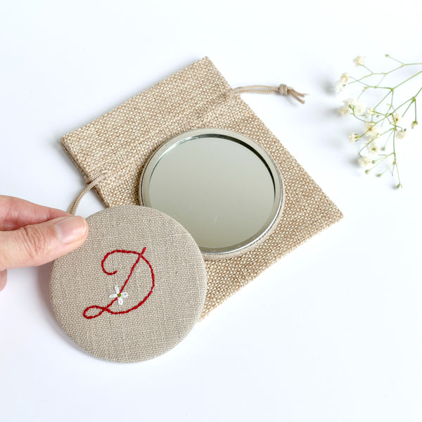Initial D embroidered monogram mirror handmade by Stitch Galore