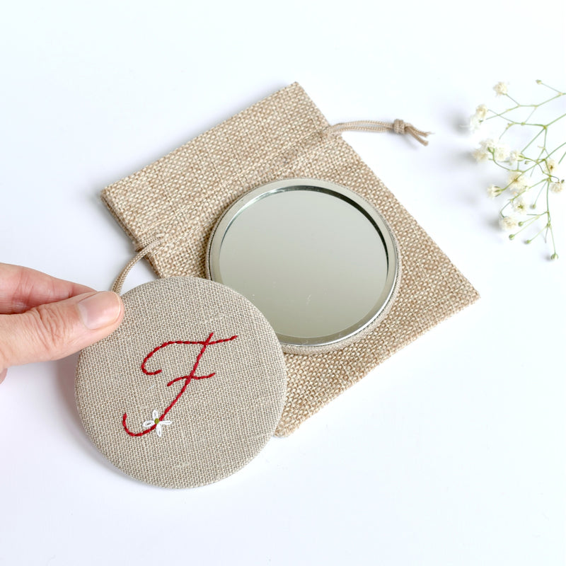 Initial F embroidered monogram mirror handmade by Stitch Galore