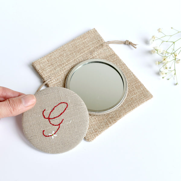 Letter G embroidered monogram mirror handmade by Stitch Galore