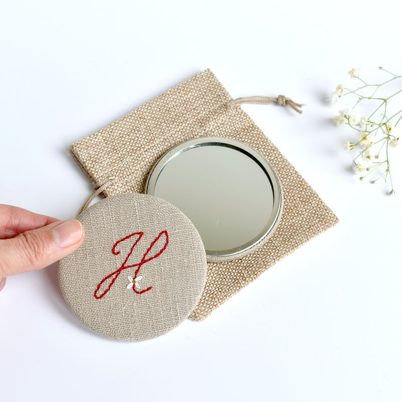 Letter H embroidered monogram mirror handmade by Stitch Galore