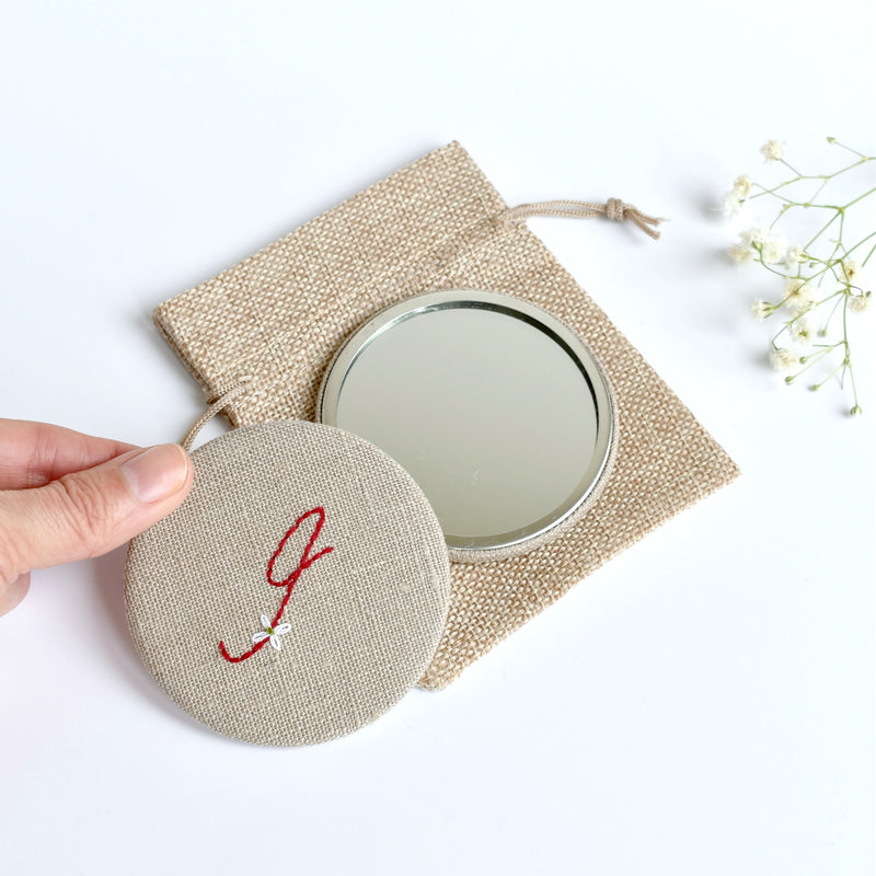 Letter I embroidered monogram mirror handmade by Stitch Galore