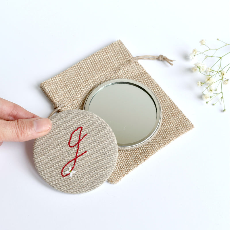 Letter J embroidered monogram mirror handmade by Stitch Galore