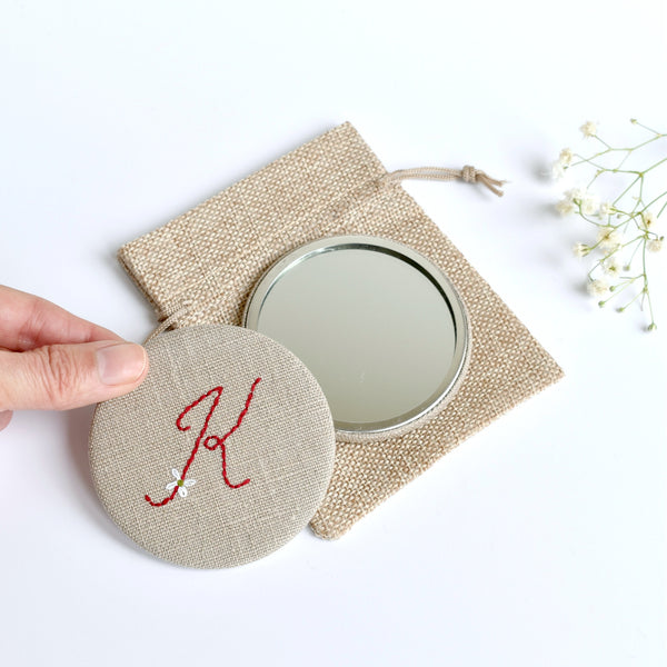 Letter K embroidered monogram mirror handmade by Stitch Galore