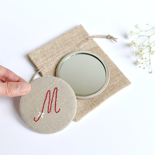 Letter M embroidered monogram mirror handmade by Stitch Galore