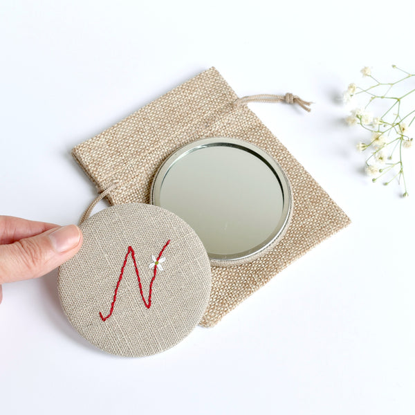 Letter N embroidered monogram mirror handmade by Stitch Galore