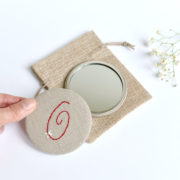 Letter O embroidered monogram mirror handmade by Stitch Galore