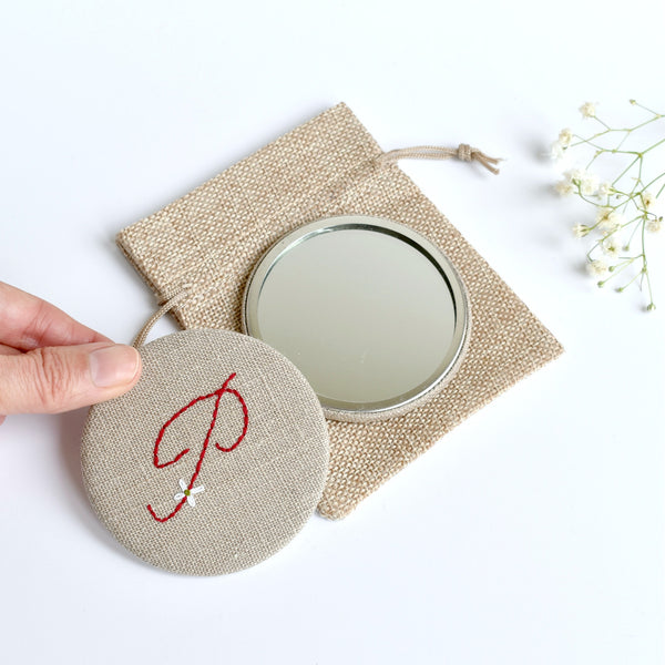 Letter P embroidered monogram mirror handmade by Stitch Galore