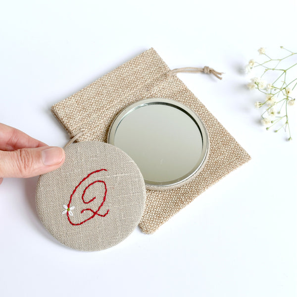 Letter Q embroidered monogram mirror handmade by Stitch Galore