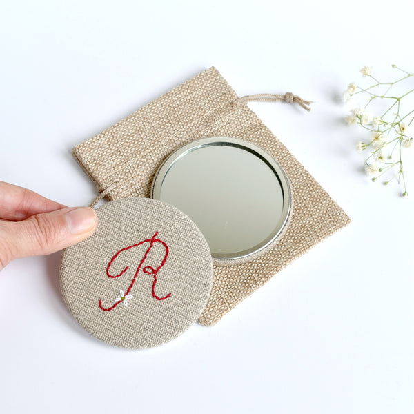 Letter R embroidered monogram mirror handmade by Stitch Galore