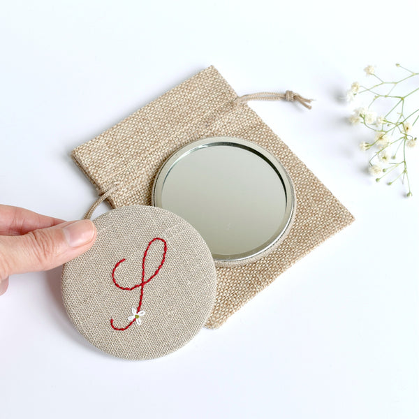 Letter S embroidered monogram mirror handmade by Stitch Galore