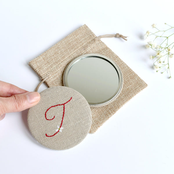 Letter T embroidered monogram mirror handmade by Stitch Galore