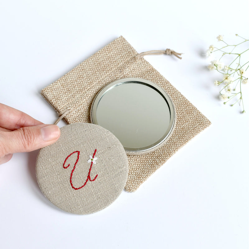 Letter U embroidered monogram mirror handmade by Stitch Galore