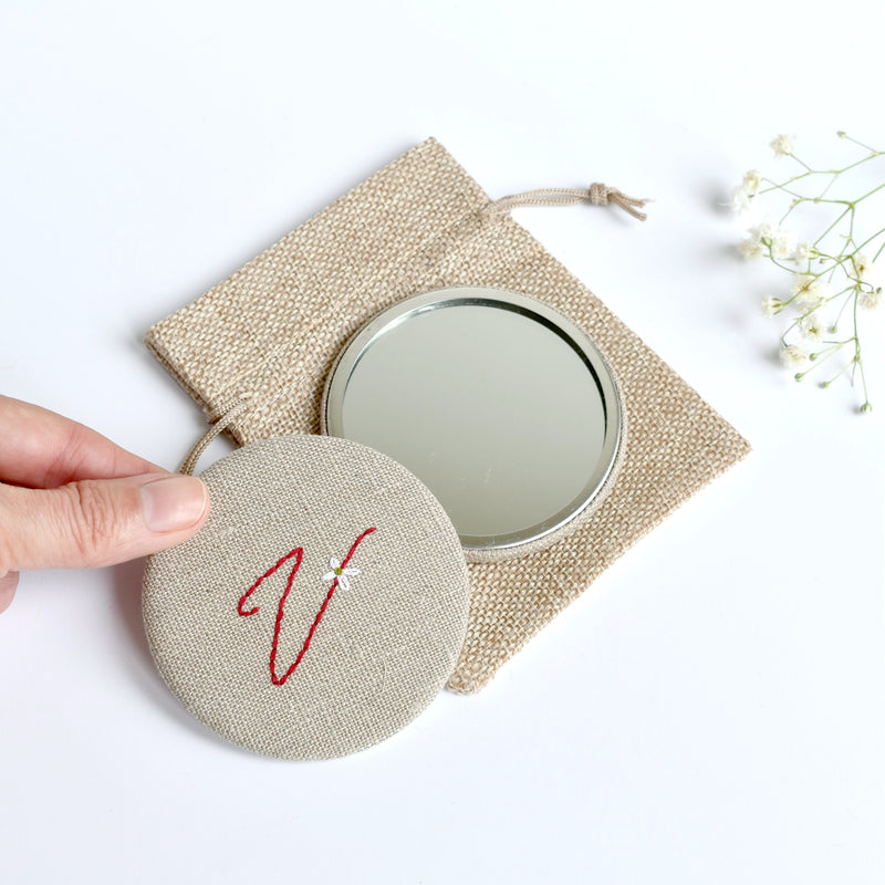 Letter V embroidered monogram mirror handmade by Stitch Galore