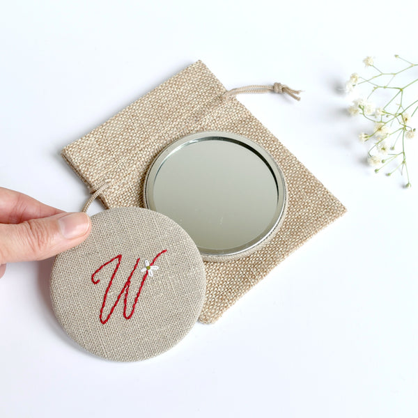 Letter W embroidered monogram mirror handmade by Stitch Galore