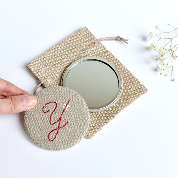 Letter Y embroidered monogram mirror handmade by Stitch Galore