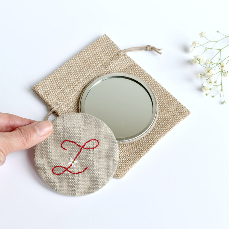 Letter Z embroidered monogram mirror handmade by Stitch Galore
